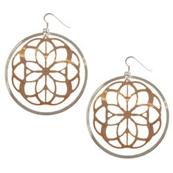 Sterling Essentials 14k Rose Gold over Sterling Silver Lotus Lace Earrings
