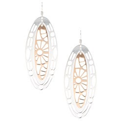 Two-tone 14k Rose Gold over Sterling Silver Oval Lace Earrings