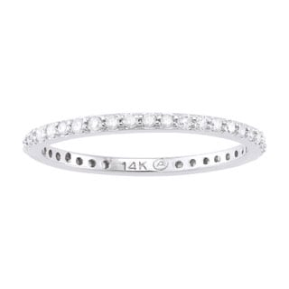 Beverly Hills Charm 14k White Gold 1/3ct TDW Round-cut Diamond Eternity Stackable Wedding Band (H-I, I2-I3)