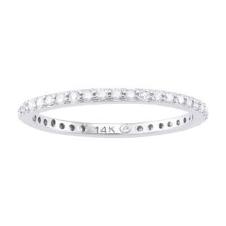 Beverly Hills Charm 14k White Gold 1/3ct TDW Round-cut Diamond Eternity Stackable Wedding Band