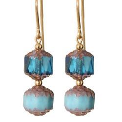 Gold Fill 14k Glass 'Belle Verre Bleu' Earrings