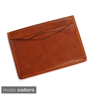 Tony Perotti Men's Italian Cow Leather Slim Front Pocket Weekend Wallet with ID Window