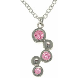 Carolina Glamour Collection Silvertone Pink Crystal Bubble Cubic Zirconia Necklace