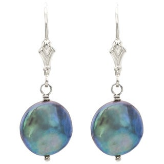 DaVonna Sterling Silver Black Freshwater High Luster Coin Pearl Earrings (9 - 11mm)