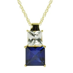 Gems for You 14-karat Gold over Silver Blue and White Sapphire Necklace