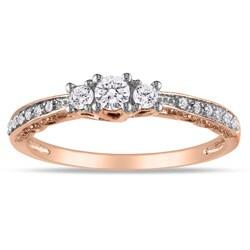 Miadora 10k Pink Gold 1/4ct TDW Diamond 3-stone Ring