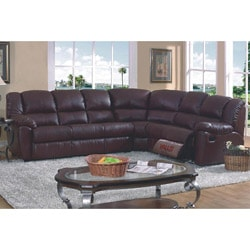 Brown Leather Match Full Sleeper Reclining Sectional Sofa | Overstock.com  Shopping - The Best Deals on Sectional Sofas