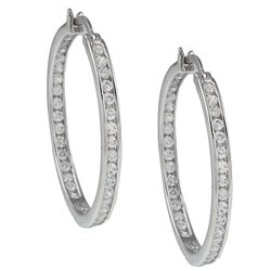 Kate Bissett Sterling Silver Clear Cubic Zirconia Fashion Hoop Earrings