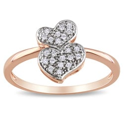 Miadora 10k Rose Gold 1/10ct TDW Diamond Heart Ring