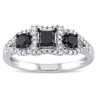 Miadora 10k White Gold 1ct TDW Black and White Diamond 3-stone Halo Ring