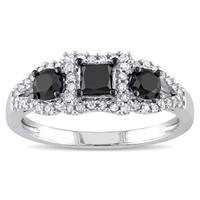 Miadora 10k White Gold 1ct TDW Black and White Diamond 3-stone Halo Ring