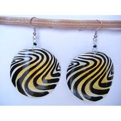 Handmade Silverplated Cow Bone Animal Print Earrings (Kenya) - Thumbnail 0