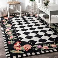Havenside Home Henderson Hand-hooked Moroccan Rooster Checkered Wool Area Rug  - 3'6 x 5'