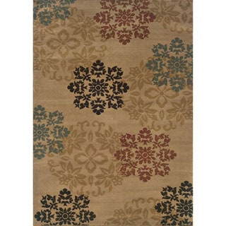 Indoor Beige Floral Rug (3'2 x 5'5)