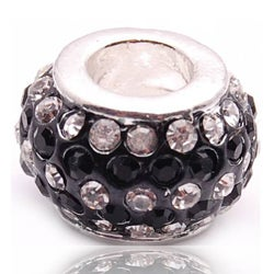 Crystal Rhinestone Black and Clear Charm Bead