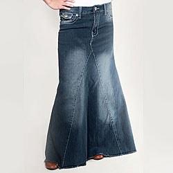 Tabeez Women's Medium Wash Long Denim Skirt - Free Shipping On ...