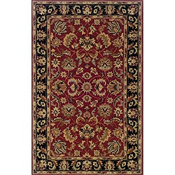 Hand-tufted Traditional Red and Black Wool Area Rug (3'6 x 5'6)