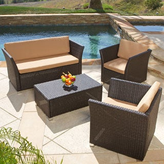 Brown 4-piece All-weather Wicker Patio Furniture Sofa Set by Christopher Knight Home