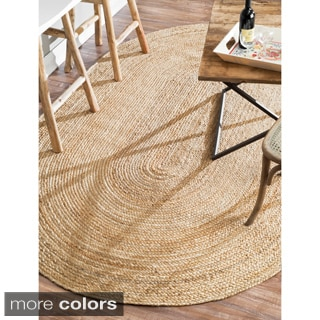 nuLOOM Alexa Eco Natural Fiber Braided Reversible Oval Jute Rug (9' x 12')