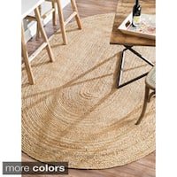 Havenside Home Duck Eco Natural Fiber Braided Reversible Oval Jute Area Rug  - 9' x 12'