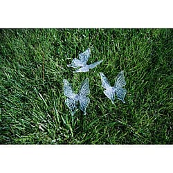 Shop Solar Powered Butterfly Color Changing Garden Stakes Set Of