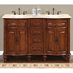 Silkroad Exclusive Wood and Crema 55-inch Marble Double Bathroom Vanity