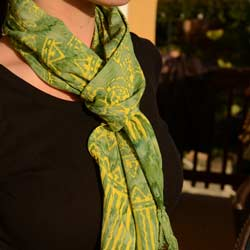Handmade Batik Dancing Green Scarf (Indonesia)