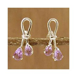 Handmade Sterling Silver 'Promise' Amethyst Dangle Earrings (India)