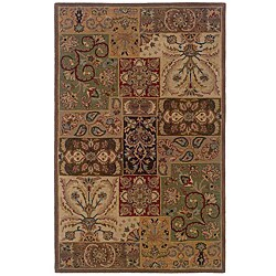 Hand-tufted Brown and Beige Wool Rug (3'6 x 5'6)