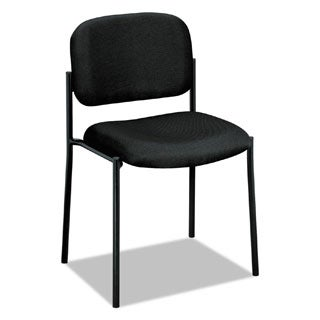basyx by HON VL606 Series Black Fabric Stacking Armless Guest Chair