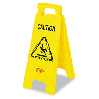 Rubbermaid Commercial Multilingual 'Caution' Bright Yellow Plastic Floor Sign