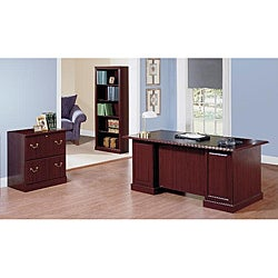 Saratoga Executive Desk, Lateral File Cabinet and 5 Shelf Bookcase