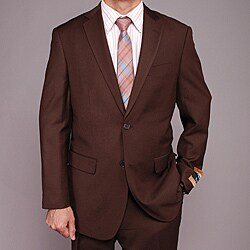 Men's Brown Wool- and Silk-blend 2-button Suit