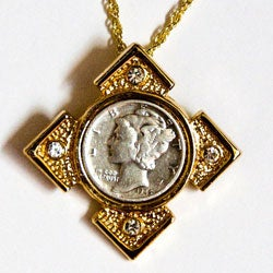 American Coin Treasures Mercury Dime Goldtone Art Deco Necklace