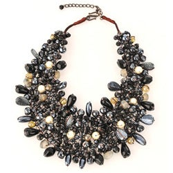 Wire-woven Black Glass Beads Bib Necklace (India)
