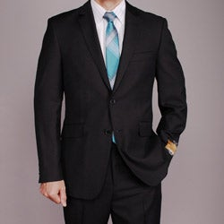 Men's Black 2-button Wool/Silk Blend Slim-fit Suit