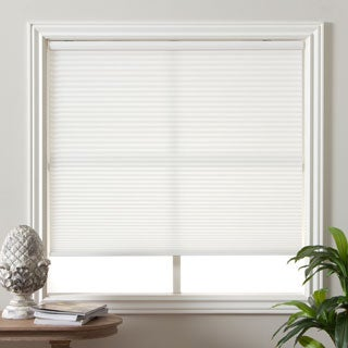 Arlo Blinds Pure White Light Filtering Cordless Cellular Shade & First Rate Blinds Cool White 26 to 26.5-inch Wide Cordless Top Down ...
