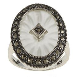 MARC Sterling Silver White Sunray Crystal and Marcasite Oval Ring|https://ak1.ostkcdn.com/images/products/P13620913.jpg?impolicy=medium
