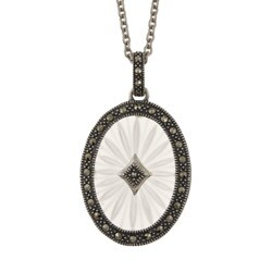 Sterling Silver White Sunray Crystal and Marcasite Necklace