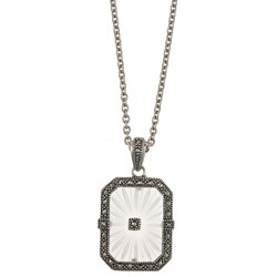 MARC Sterling Silver Rectangle Sunray Crystal and Marcasite Necklace