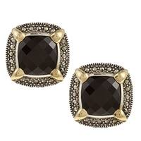 Sterling Silver Onyx and Marcasite Stud Earrings