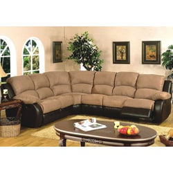 Light brown 4 piece microfiber reclining sectional sofa for 4 piece sectional sofa microfiber
