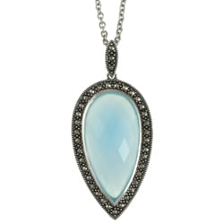 Sterling Silver Chalcedony and Marcasite Necklace