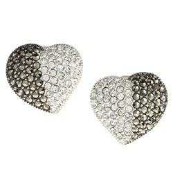 MARC Sterling Silver Clear Crystal and Marcasite Heart Earrings