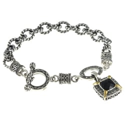 Sterling Silver Black Onyx and Marcasite Toggle Bracelet