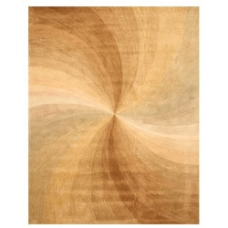 Hand-tufted Wool Gold Contemporary Abstract Swirl Rug (8'9 x 11'9)