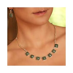 Love's Riches Modern Square Cut Bezel Set Green Jade Pendants on 925 Sterling Silver Chain Womens Collar Necklace (Guatemala)