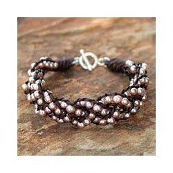 Silver and Leather 'Pink Paths' Pearl Bracelet (3.5-4 mm) (Thailand)