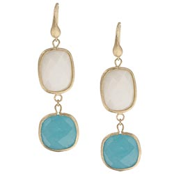 Rivka Friedman Gold Plated Blue Quartzite and MOP Earrings