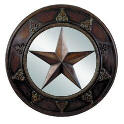 Round Art Fleur De Lis Metal Mirror